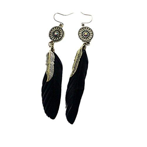 Milageto 1 Par de Joyas, Pendientes Elegantes de Plumas Negras, Gancho Colgante, Gota para El Oído, Moda para Mujer