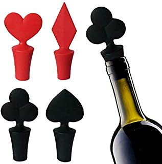 Wine Stopper, Naranqa Wine Preserver Bottle Cap Silicone Wine and Beverage Bottle Stoppers Creative Wine Accessories Gift Set of 4 (Red&Black 4 PACK)