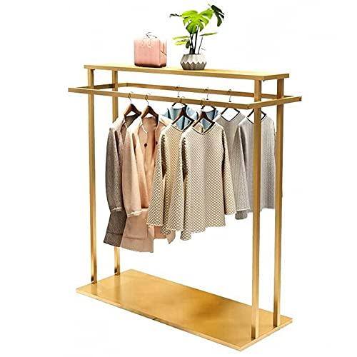 Rieles para ropa de alta resistencia, estantes de exhibición de ropa de dos polos independientes con estantes superior e inferior, estantes de secado de metal/dorado / 120×130cm
