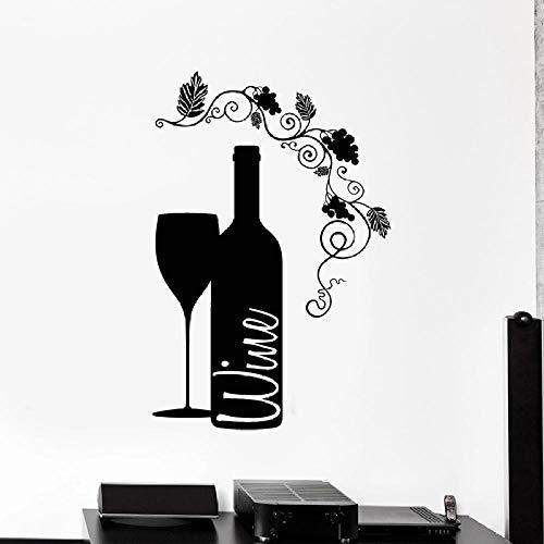 Etiqueta de la pared de vinilo etiqueta de la pared de vidrio botella de vino Bar bodega decoración interior del hogar ventana del hogar arte mural de la flor