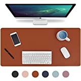 Knodel Desk Pad, Office Desk Mat, 31.5' x 15.7' PU Leather Desk Blotter, Laptop Desk Mat, Waterproof Desk Writing Pad for Office and Home, Dual-Sided (Brown)