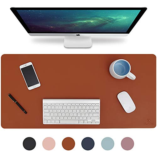 "Knodel Desk Pad, Office Desk Mat, 35.4"" x 17"" PU Leather Desk Blotter, Laptop Desk Mat, Waterproof Desk Writing Pad for Office and Home, Dual-Sided (Brown)"