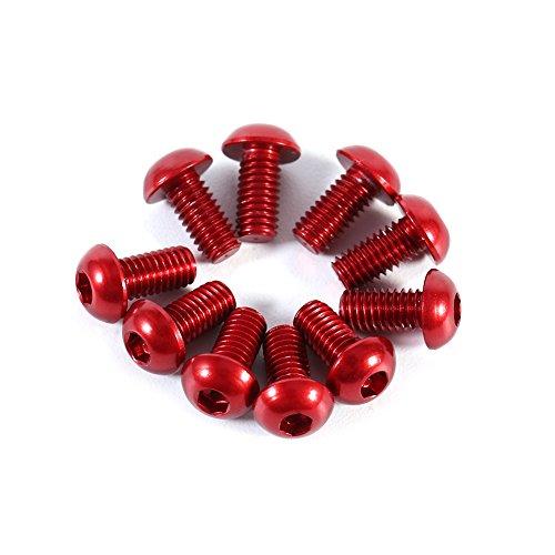 Tornillos de Cabeza Hexagonal 10pcs M3 6-10mm Colorido botón redondo Cabeza zócalo Tornillos de tapa de aluminio aleación Métrico hexagonal Tornillo de tapa(Rojo 6mm)