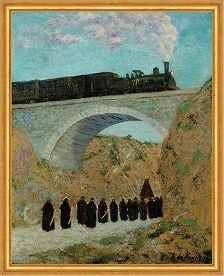 Kunstdruck Vendredi Saint en Castille Dario de Regoyos tren Lok Puente B A1 01364