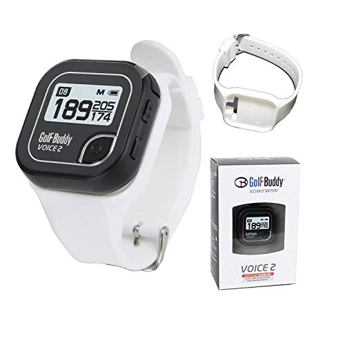 Golf Buddy Voice 2 Golf Rangefinder Talking Golf GPS Devices for Hat, Golf Distance Range Finder for Golfers, 14 Hours Battery Life, Water Resistant (Black) Bundled with Silicon Strap Wristband