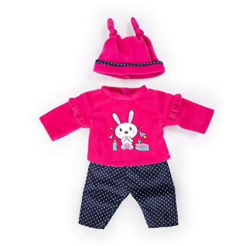 Bayer Design 84679AA Puppenkleidung für 40-46cm Puppen, Hose, Oberteil Und Mütze, Set, Outfit mit Hasen, rosa, blau, gepunktet