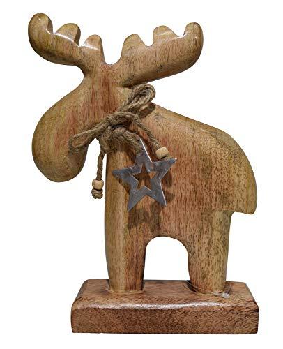 Großer Elch Mangoholz mit Metallstern 24x18cm Dekofigur Holzelch Figur Holzfigur