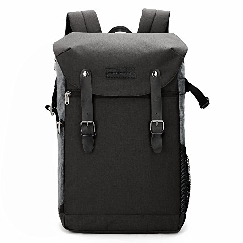 BAGSMART Camera Backpack with 15.6 Inch Laptop Compartment and Waterproof Rain Cover for SLR/DSLR Cameras and Accessories, Black