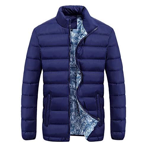 RTYou Herren Winterjacke dicker Baumwollmantel weicher Mantel Shell Puffer Jacke Herren Winter Kapuze Packable Daunenjacke - blau - X-Groß