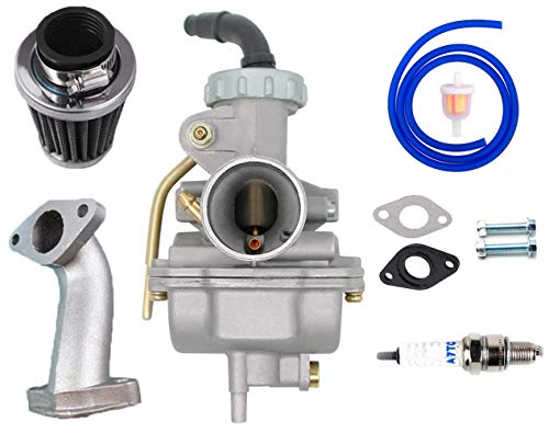 PZ20 20mm Carburetor for Kazuma Baja 50cc 70cc 90cc 110cc 125cc TaoTao 110B NST SunL Chinese Quad 4 stroke ATV 4 wheeler Go kart Dirt Bike Honda CRF50F XL75 CRF80F XR50R with Air Fuel Filter