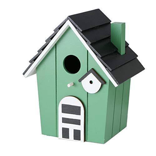 CasaJame Holz Vogelhaus für Balkon und Garten, Nistkasten, Haus für Vögel, Vogelhäuschen, grün 15,5x12x20,5cm