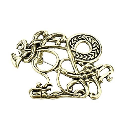 YUNHOME Broche Breastpin Broche Pins Norse Viking Wolf Cabeza De Lobe Pins Broches para Mujeres Hombres De Mujer Pin De Plama De Pines Bolsas De Mayor-Brozne