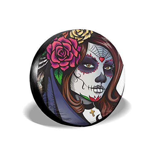 Day Dead Makeup Girl Flowers Hair The Arts People Spare Tire Cover Waterproof Dust-Proof UV Sun Wheel Tire Cover Fit for Jeep,Trailer, RV, SUV and Many Vehicle 15 Inch
