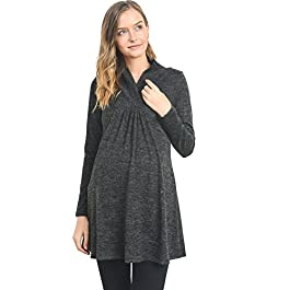 HELLO MIZ Women's Sweater Knit Maternity Long Sleeve Tunic Top