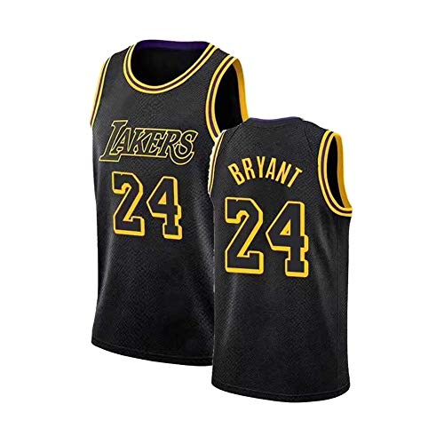 Bryant Men's Jerseys Laker, Black Mamba # 8 Black Gold Python Pattern Basketball Camiseta STARCHE Sports Chaleco y fanático Transpirable Sudadera (S-XXL) L