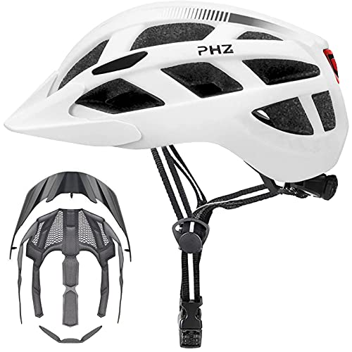PHZ Adult Bike Helmet with Rechargeable Led Back Light/Detachable Visor Ideal for Road Ride Mountain Bike Bicycle for Men and Women (White, Medium)
