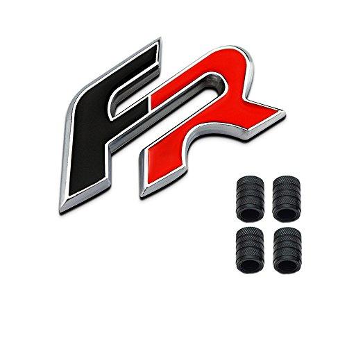 Dsycar 3D Metall FR Logo Auto Abzeichen Emblem Aufkleber + 4 Stücke Rändelte Stil Mit Kunststoffkern Ventilkappen für Universal Car Styling Dekorative Zubehör