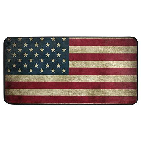 CPYang Küchenteppich mit USA-Flagge im Vintage-Stil, rutschfest, gegen Müdigkeit, Standmatte, Läufer, waschbar, für Küche, Badezimmer, 50 x 99 cm