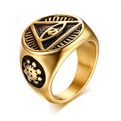 NA Anillo de Hombre Antiguo Triángulo Ojo de la Providencia Pirámide de Illuminati All Seeing Eye Stainelss Steel Male Punk Jewelry