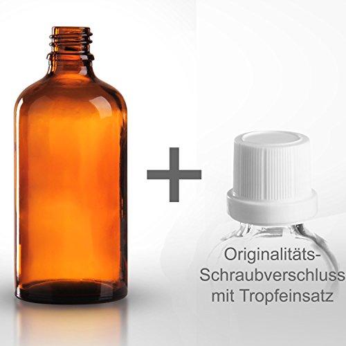 5 x Braunglasflaschen / Tropfflaschen 100ml inkl. Originalitäts-Schraubverschluss OV mit Tropfereinsatz DIN 18 / Braunglasflasche / Tropferflasche / Tropferflaschen / Braunglas Flasche ***Apothekenqualität, gefertigt nach dem Europäischen Arzneibuch***
