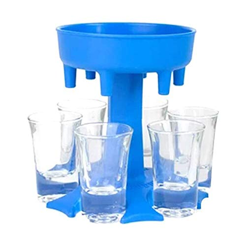 Dispensador de vino de 6 maneras, 6 dispensadores de tazas pequeñas, soporte para tazas de vino, dispensador de líquido, dispensador de cócteles, múltiples opciones de color (azul-gris-rosa) (azul)