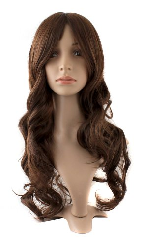 MapofBeauty 24 Inch/60cm Charming Synthetic Fiber Long Wavy Hair Women Party Full Wig (Brown)