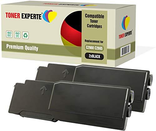 2-Pack TONER EXPERTE Compatible with 593-BBBU Black Premium Toner Cartridges for Dell C2660dn, C2665dn, C2665dnf