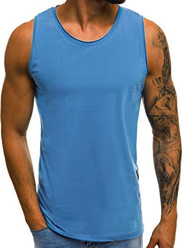 OZONEE Herren Tank Top Tanktop Tankshirt Ärmellos Bodybuilding Shirt Unterhemd T-Shirt Tshirt Tee Muskelshirt Achselshirt Trägershirt Ärmellose Training Sport Fitness 777/224BO BLAU XL