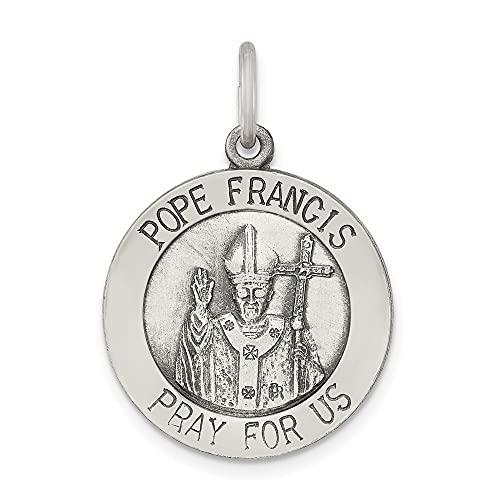 Diamond2Deal - Colgante de plata de ley 925 con medalla de Papa Francisco envejecido y cepillado