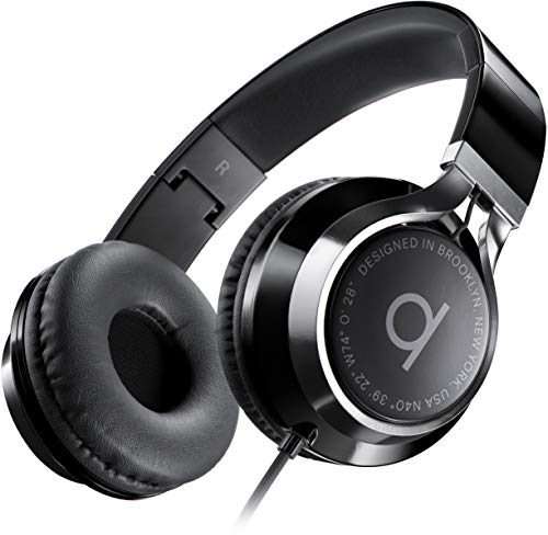 Artix CL750 Foldable Noise Isolating On Ear Headphones Wired with Microphone and Volume Control, Stereo Head Phones Corded with Adjustable Headband for Computer, Laptop and Cell Phone (Black)