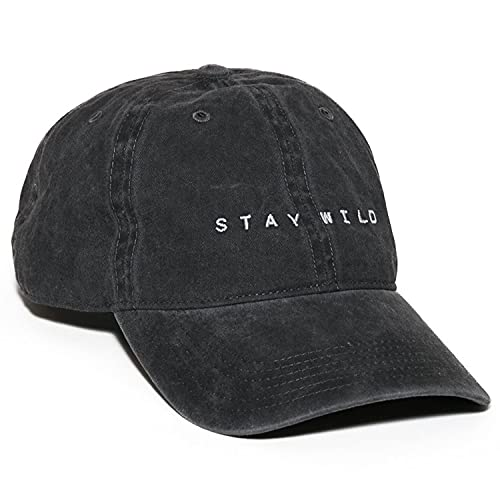 Atticus Poetry Hat, Stay Wild Dad Hat, Embroidered Black Pigment-Dyed Brushed Cotton Women's Baseball Hat, Vintage Washed Cap, Adjustable One Size (Stay Wild)