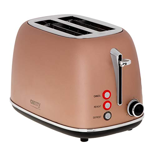 CAMRY CR 3217 Toaster 2 Scheiben, 815 W, Retro, mit Aufwärmen, Auftauen Funktionen, Stopp-Taste, 6 einstellbare Bräunungsstufen, Brötchenaufsatz, herausziehbare Krümelschublade