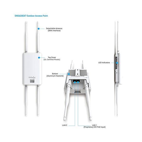 EnGenius Technologies ENS620EXT Wi-Fi 5 AC1300 2×2 Dual-Band Outdoor Access Point/Range Extender/Bridge Features IP55…