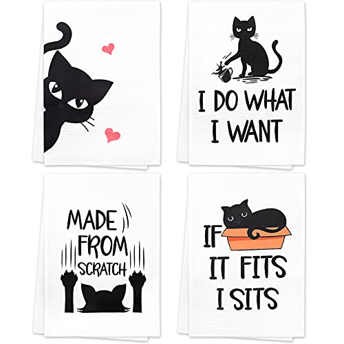 Vansolinne Funny Cat Kitchen Towels Housewarming Gifts Cat Lover Gifts New Home Tea Towels Decorative Waffle Dish Towels Set of 4 Fun Hostess Kitchen Decor Wedding Shower Gift Housewarming Presents