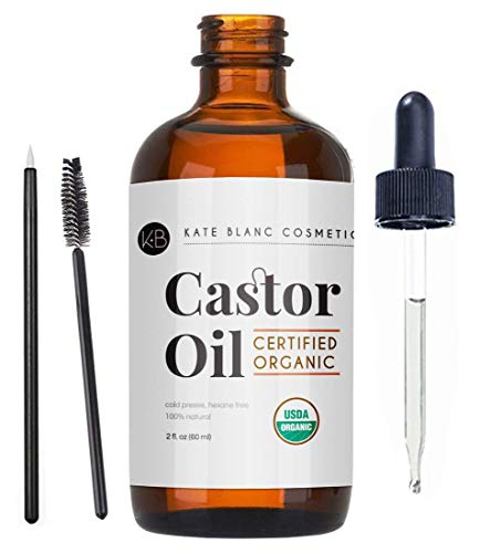 Castor Oil (2oz) USDA Certified Organic, 100% Pure, Cold Pressed, Hexane Free by Kate Blanc. Stimulate Growth for Eyelashes, Eyebrows, Hair. Lash Growth Serum. Brow Treatment. FREE Mascara Starter Kit