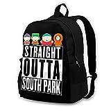 Straight Outta South Park - Mochila escolar con doble compartimento para estudiantes de 16,5 pulgadas, apta para niños y niñas, escuela, universidad, viajes al aire libre