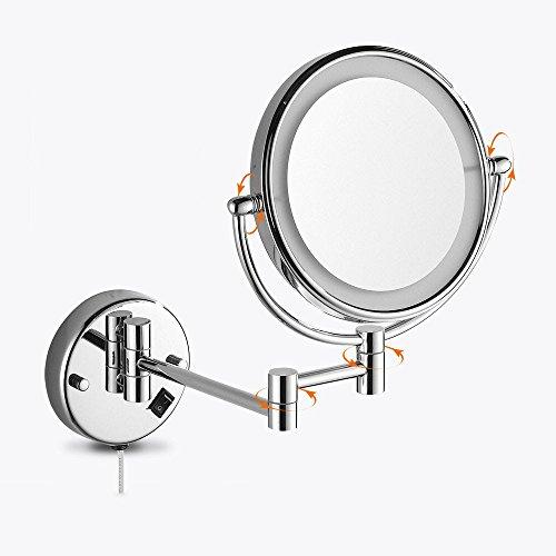 MIWANG Le Miroir de vanité de Salle de Bains WC avec LED Lights Out de l'ancien rétroviseur Rabattable agrandir Duplex Le Miroir de courtoisie, 8 Pouce