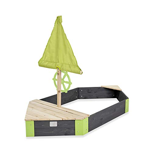 EXIT Aksent Holzsandkasten Boot / Material: Zedernholz / 190 x 90 cm / Gewicht: 16 kg / für Kinder ab 3 Jahren geeignet