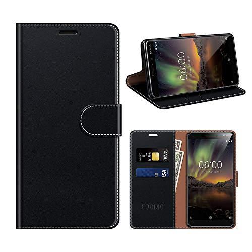 COODIO Housse Cuir Nokia 6 2018, Étui Coque en Cuir Nokia 6.1, Rugged Housse Portefeuille Magnétique/La Fonction Stand pour Nokia 6.1 / Nokia 6 2018, Noir