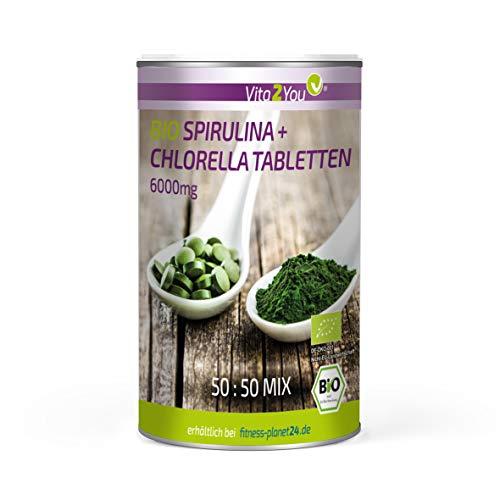 Bio Chlorella + Spirulina Tabletten - 500 Tabletten - Aus Ökologischen Anbau - Rohkost - Algen ohne Zusätze - Premium Qualität