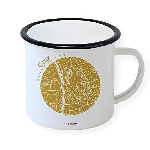 Graz Retro Emaille-Becher Design-Tasse, Stadtplan in 5 Farben, Camping Büro Zuhause
