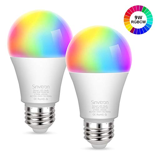 Sinvitron Led Wifi Smart Light Bulb E26 9W, Work with Amazon Alexa, Echo, Google Home and IFTTT, No Hub Required, 900lm, A19 85W Equivalent, RGBCW Multi-color Changing - 2 Pack