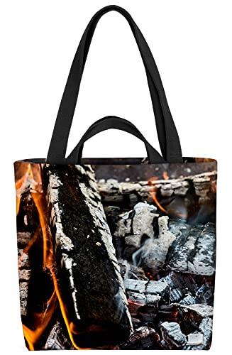 VOID Lagerfeuer Grillen Kamin Tasche 33x33x14cm,15l Einkaufs-Beutel Shopper Einkaufs-Tasche Bag