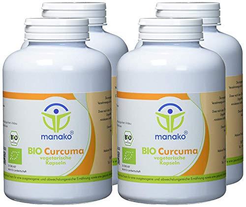 manako 1200 BIO Curcuma vegetarische Kapseln, 4 x 300 Stück, Dose a 180 g (4 x 300 Kapseln)