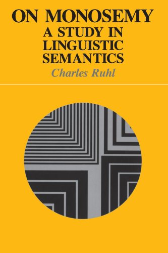 On Monosemy: A Study in Linguistics Semantics (Suny Series in Linguistics)