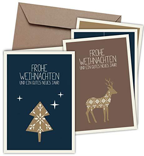 8 Klappkarten & 8 Umschläge: Weihnachtskarten mit PRÄGUNG - Skandinavische Weihnacht - Format 165 x 115 mm, matter Naturkarton mit Blanko-Innenseiten für Weihnachtsgrüße an Familie, Freunde, Kunden