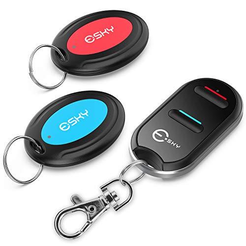 Buscador de llaves, Esky Buscador de llaves inalámbrico con 2 receptores Localizador de artículos de RF, Control remoto de soporte de seguimiento de artículos, Rastreador de mascotas y billetera
