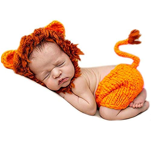 AIXIANG Handmade Crochet Costume Christmas Photoshoot New Born Baby Boy Photo Props Outfits Newborn Photography Outfits Boy Newborn Photoshoot Outfits Boy Christmas Gifts Lion Cap and Pants Set