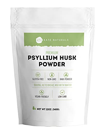 Psyllium Husk Powder by Kate Naturals. Perfect for Baking, Keto Low Carb Bread and Consuming with Water. Fine Grind. Gluten-Free & Non-GMO. Large Resealable Bag (12oz).
