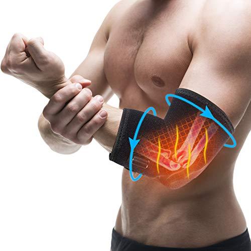 DOACT Codera de soporte calefactor, almohadilla ajustable con ajuste de temperatura de 3 niveles para terapia de calor y frío para tendinitis, codo de tenista, alivio del dolor de artritis